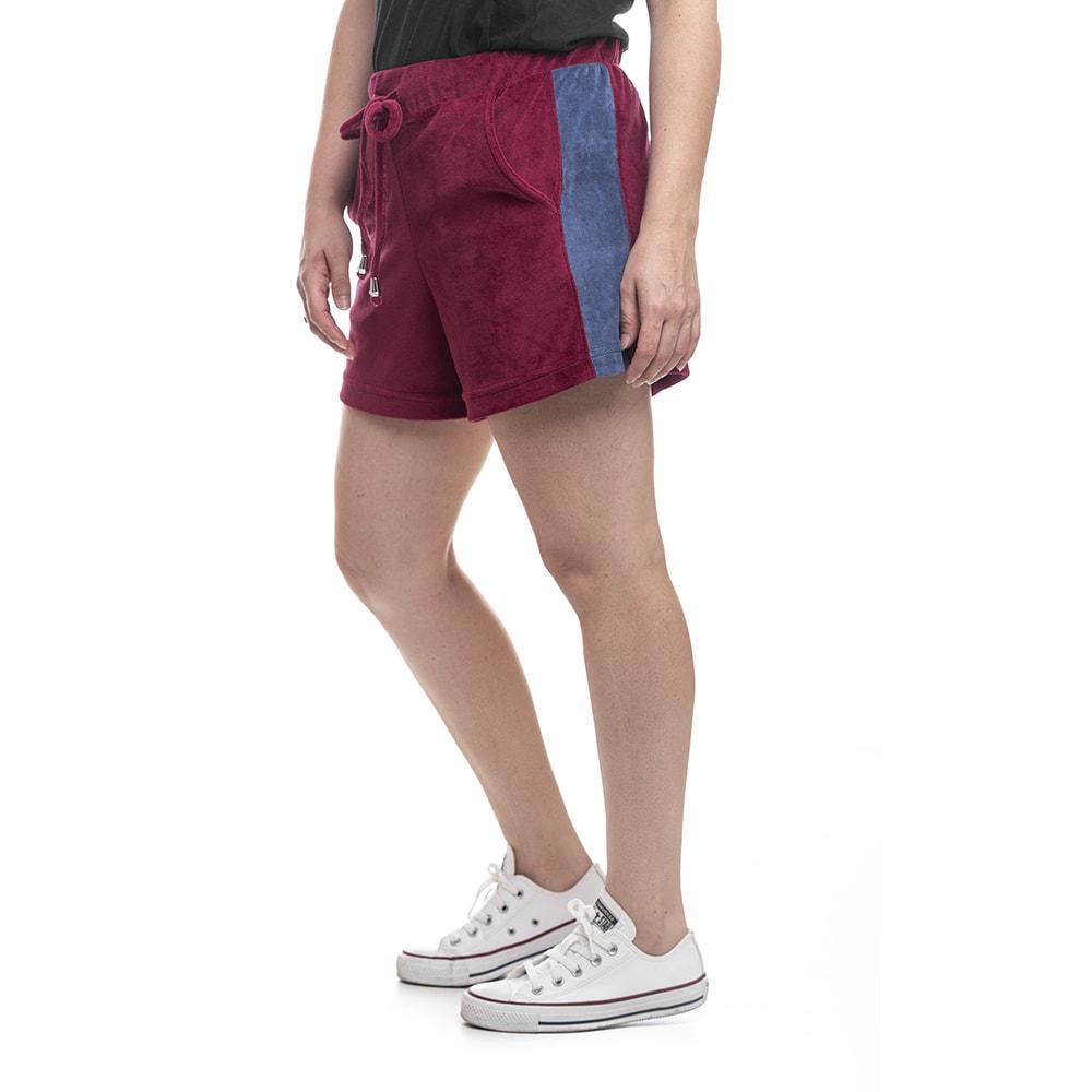 shorts feminino plush bordo